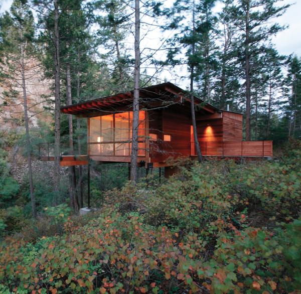 http://www.tinyhouseliving.com/small-cabin-stilts-flathead-lake/