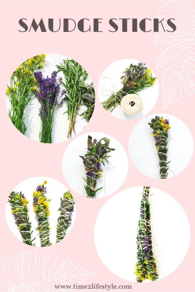 Smudge sticks, incensi naturali con erbe aromatiche e fiori. Time2lifstyle.com