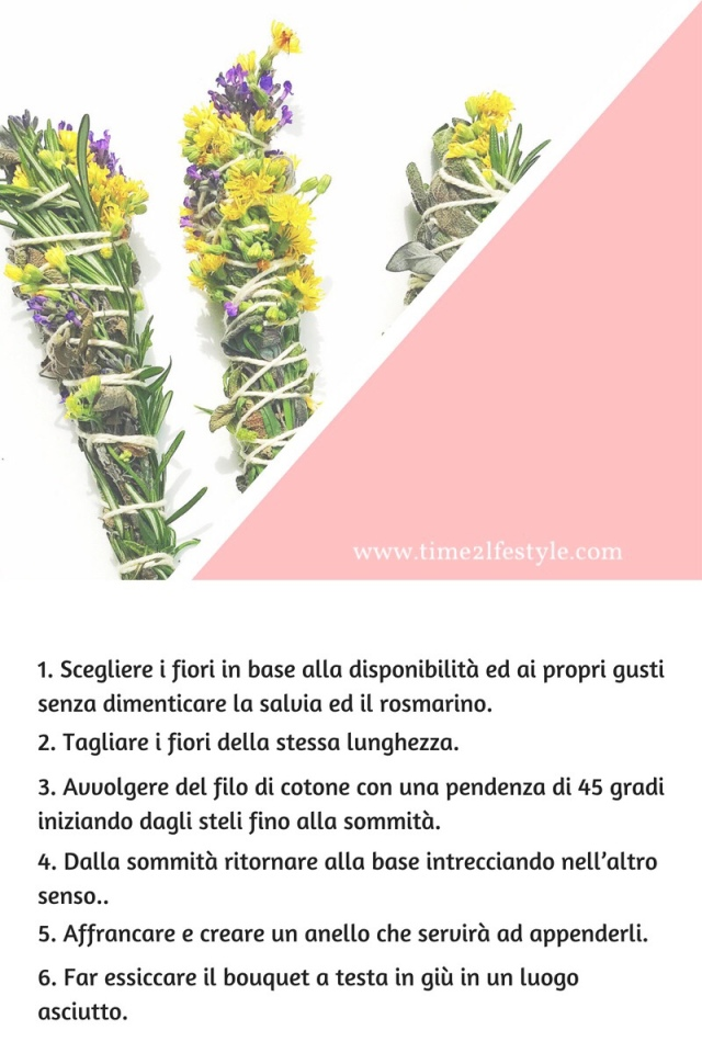 Smudge sticks, incensi naturali con erbe aromatiche e fiori. Time2lifstyle.com