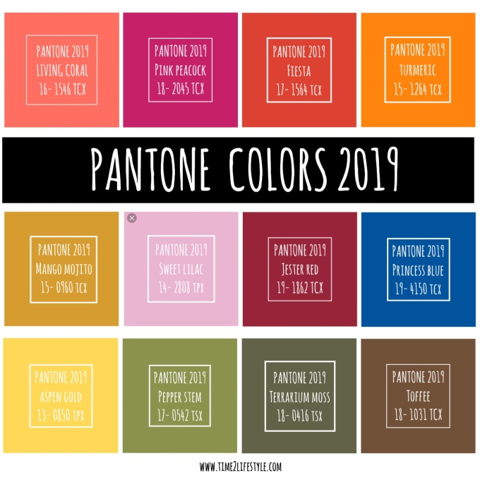 Time2lifestyle Colori Pantone 2019